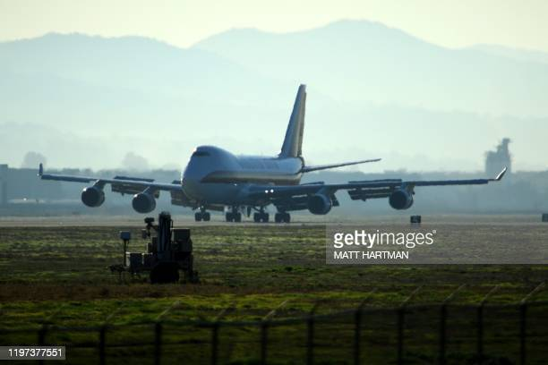 A plane lands at March Air Reserve Base in Riverside California on January 29 with passengers evacuated from Wuhan the Chinese city at the heart of a...