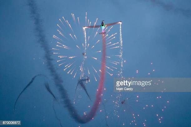 A plane launches fireworks at the opening night of annual Festival of Light at the Elizabethan Longleat House on November 3 2017 in Frome England Now...
