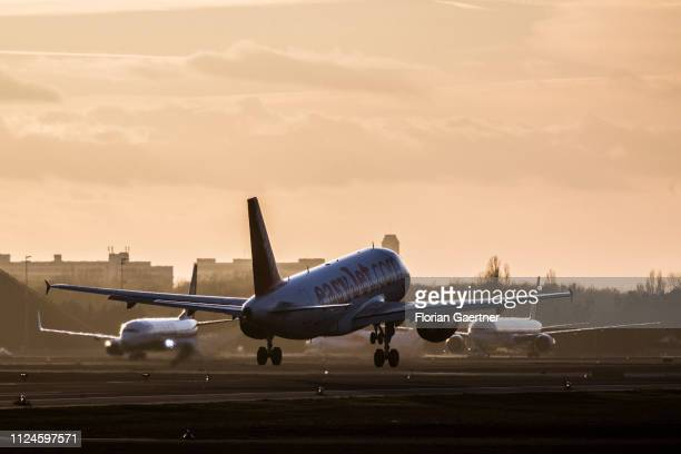 A plane of the airline easyjet takes off at the Airport Tegel on February 12 2019 in Berlin Germany