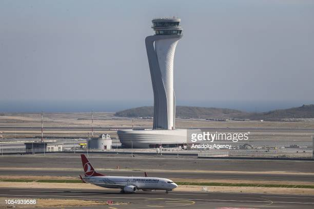 A plane of Turkish Airlines lands on the new airport ahead of its opening ceremony in Istanbul Turkey on October 29 2018