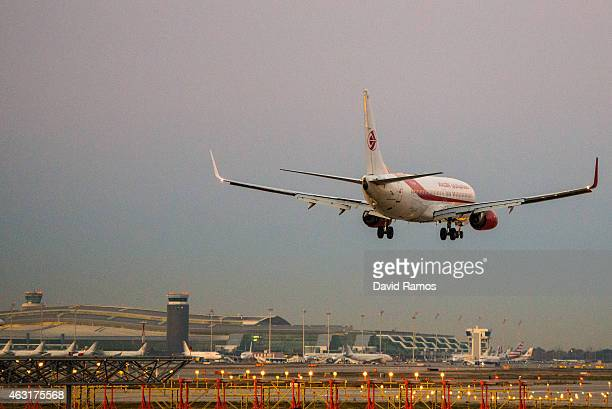 A plane operated by Air Algerie lands at Aena operated Barcelona El Prat International Airport on February 11 2015 in Barcelona Spain Shares in...