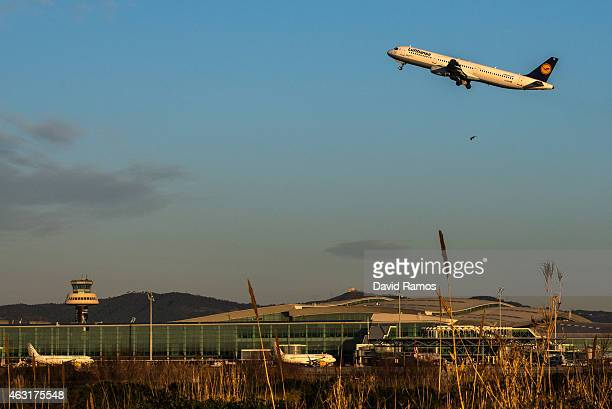 A plane operated by Lufthansa departs from Aena operated Barcelona El Prat International Airport on February 11 2015 in Barcelona Spain Shares in...