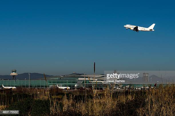 A plane operated by Vueling departs from Aena operated Barcelona El Prat International Airport on February 10 2015 in Barcelona Spain Shares in...