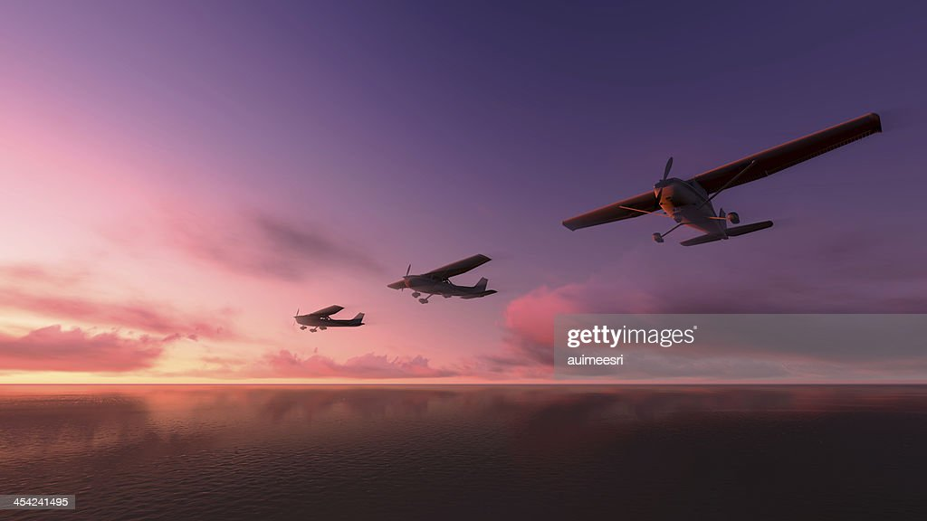 Plane over the ocean. : Stock Photo