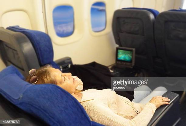 Plane passenger sleeping