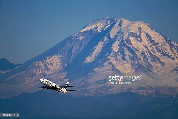 Plane Passing Mount Rainier