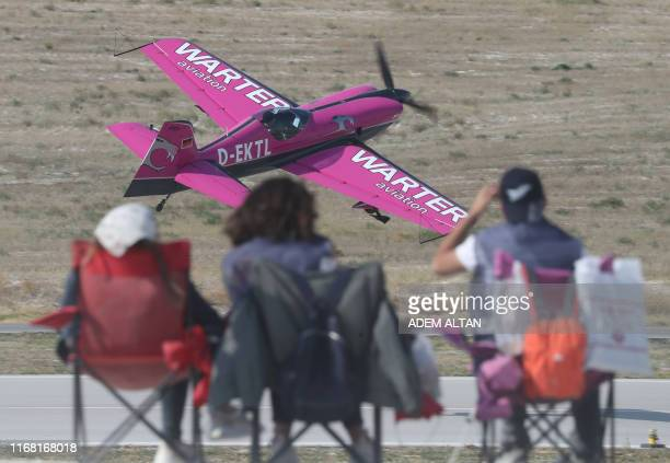 A plane performs during the Sivrihisar Airshow in Sivrihisar district of Eskisehir Turkey on September 14 2019