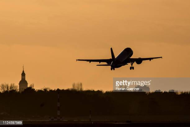 A plane takes off at the Airport Tegel on February 12 2019 in Berlin Germany
