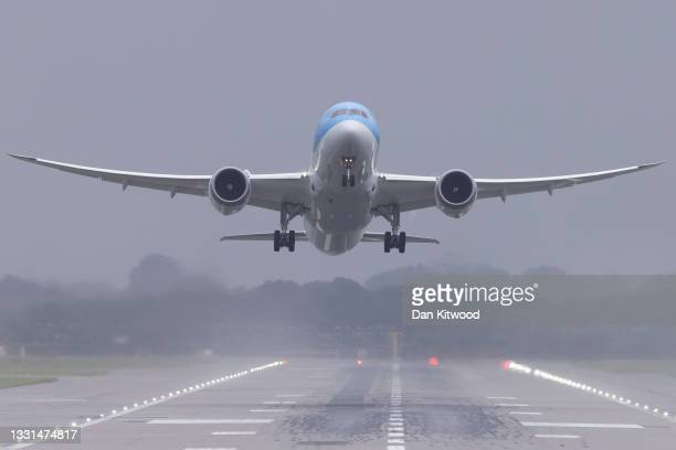 Plane takes off from Gatwick Airport on July 30, 2021 in London, England. Restrictions to and from the UK remain in place as Coronavirus continues to...