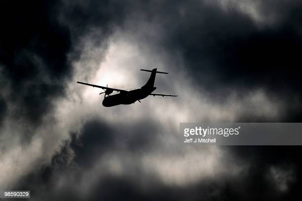 A plane takes off from Glasgow Airport after airspace was shut down for six days due to volcanic ash on April 21 2010 in Glasgow Scotland UK airports...