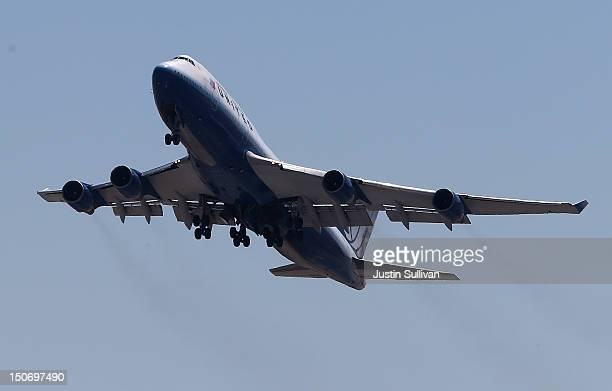 A plane takes off from San Francisco International Airport on August 24 2012 in San Francisco California The Commerce Department reported today that...