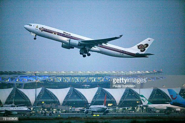 Plane takes-off from the new Bangkok Suvarnabhumi international airport January 30, 2007 in Bangkok, Thailand. The new $4 billion airport has been...