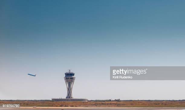 A plane taking off at El Prat airport, Barcelona Spain