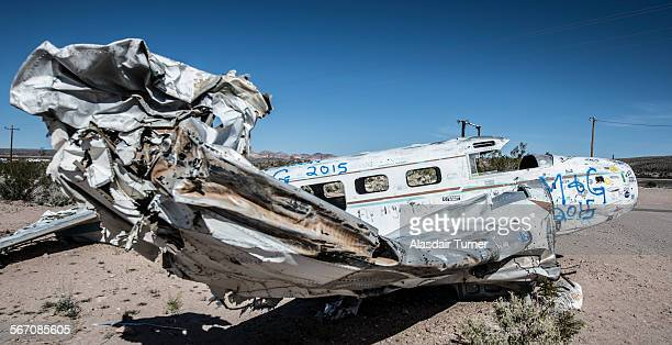 Plane wreck in the Nevada Desert.
