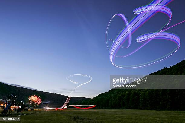 RC Planes and Fireworks at night