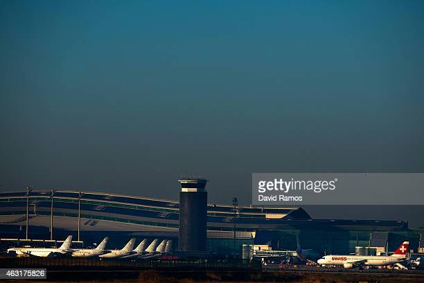 Planes are docked at Aena operated Barcelona El Prat International Airport on February 10 2015 in Barcelona Spain Shares in statecontrolled Spanish...