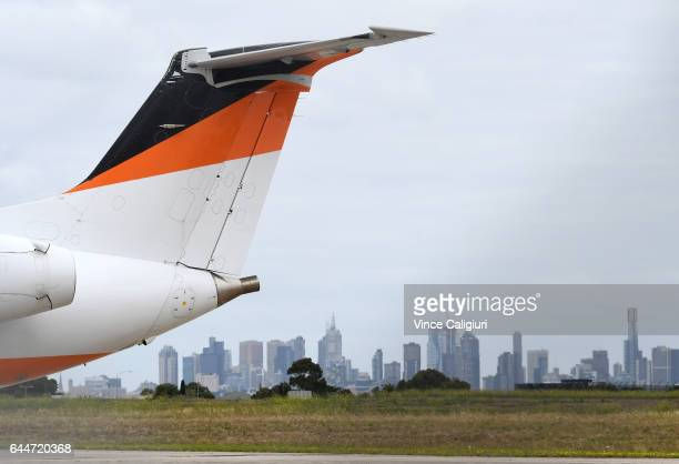 Planes are seen at Essendon Airport about to take off on February 24 2017 in Melbourne Australia Five people were killed when a charter plane crashed...