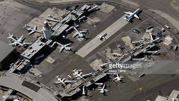 Planes are seen at LaGuardia Airport September 13, 2009 in the Queens borough of New York City.