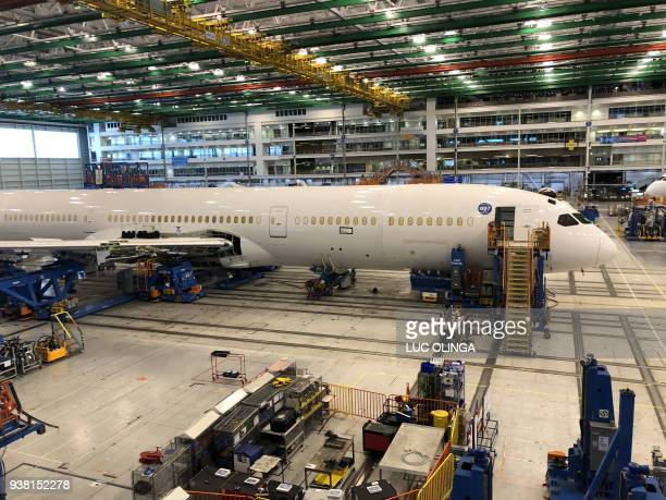 Planes are seen under construction at a Boeing assembly plant in North Charleston South Carolina on March 25 2018 The sparkling new Boeing 787s bound...
