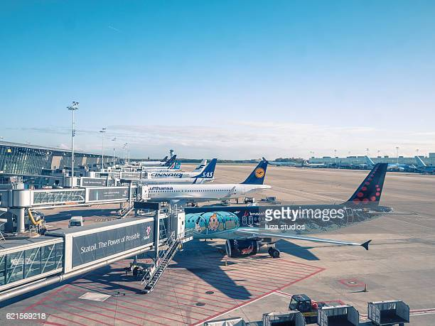 planes at brussels international airport - brussels airlines stock photos and pictures