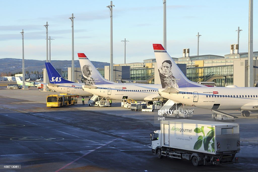Planes at Oslo Gardemoen Airport : Stock Photo