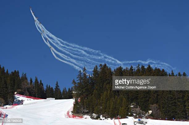 Planes during the Audi FIS Alpine Ski World Cup Women's Downhill on February 23, 2019 in Crans Montana Switzerland.