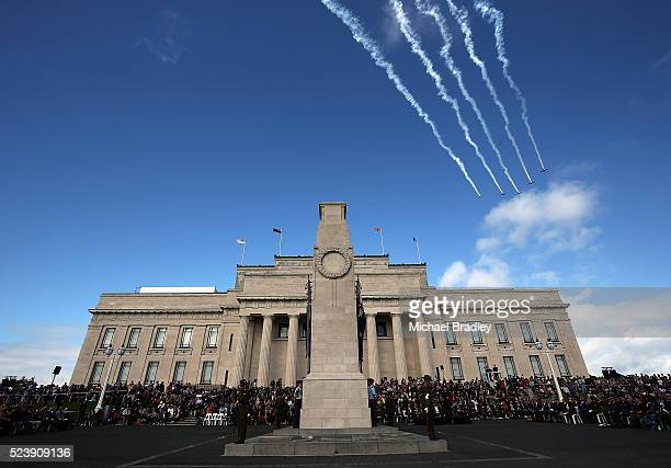 Planes fly over the Auckland Museum on April 25 2016 in Auckland New Zealand New Zealanders are commemorating 101 years since the Australian and New...
