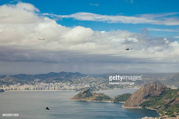 Planes over Niteroi, seen from Sugarloaf Mountain