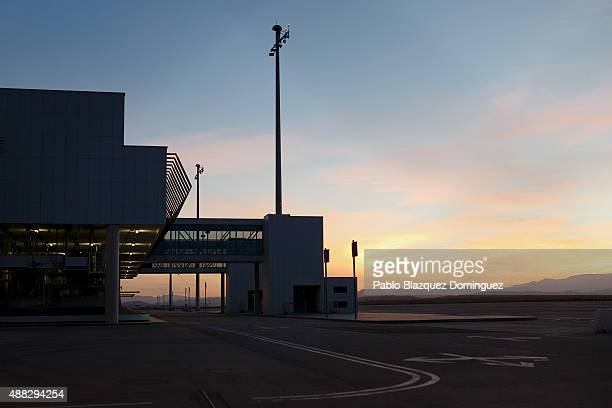 Planes parking area remains empty one day before the first commercial flight lands at Castellon airport on September 14 2015 near Castellon de la...
