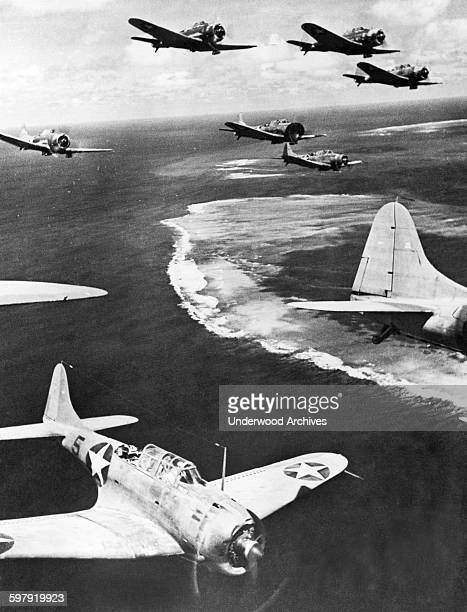 US planes patrolling the area around Midway Island on the lookout for Japanese aircraft Midway Island November 16 1942