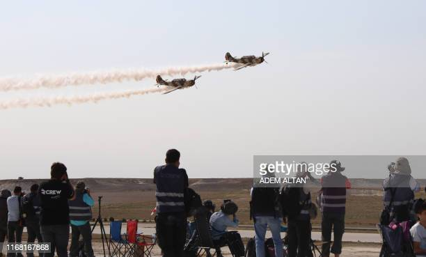 Planes perform a flying display during the Sivrihisar airshow in Sivrihisar district of Eskisehir on September 14 2019