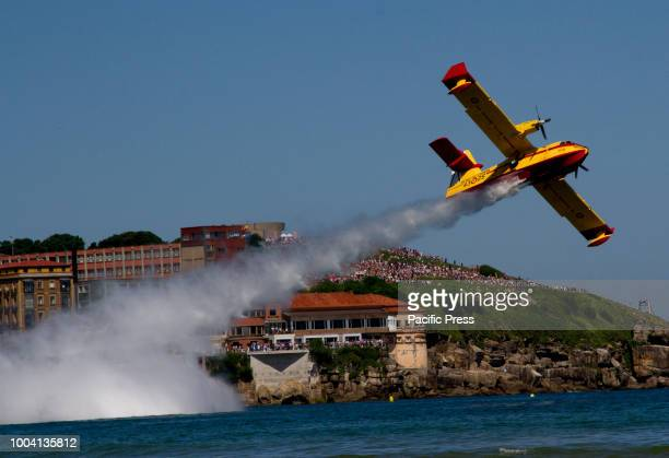 Planes performing at the Gijon International Air festival. Aerobatic teams from various countries in Europe take part in this popular event.
