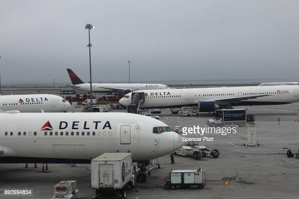 Planes sit on the runway at John F Kennedy International Airport on June 5 2017 in New York City Part of what the White House is calling the...