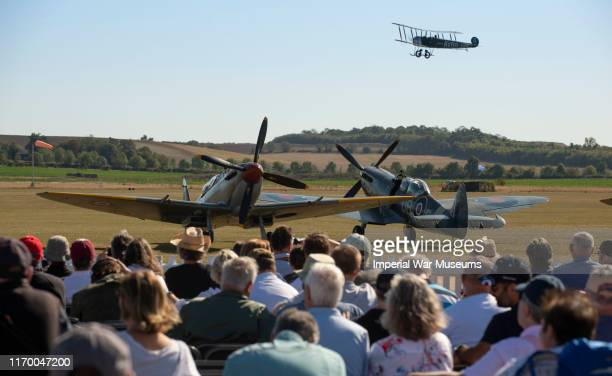 Planes taxi on the ground before the Duxford Battle Of Britain Airshow on September 21 2019 in Duxford EnglandThis year the flying team have...