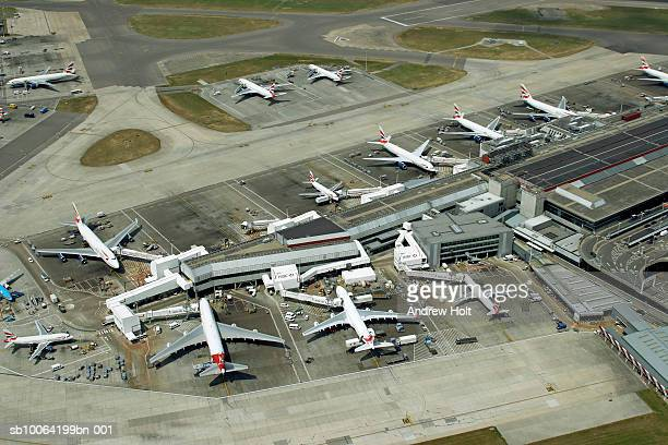 Planes waiting at Heathrow airport, aerial view