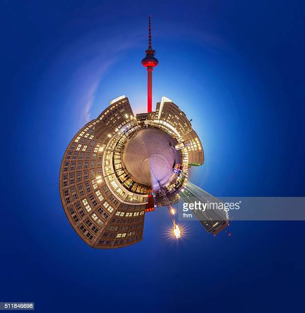 Planet Berlin Alexanderplatz - special view as 'little Planet' Panorama
