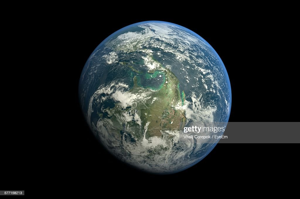 Planet Earth Against Black Background : Stock Photo