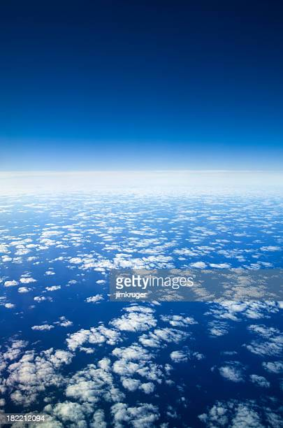Planet earth and atmosphere from high altitude.