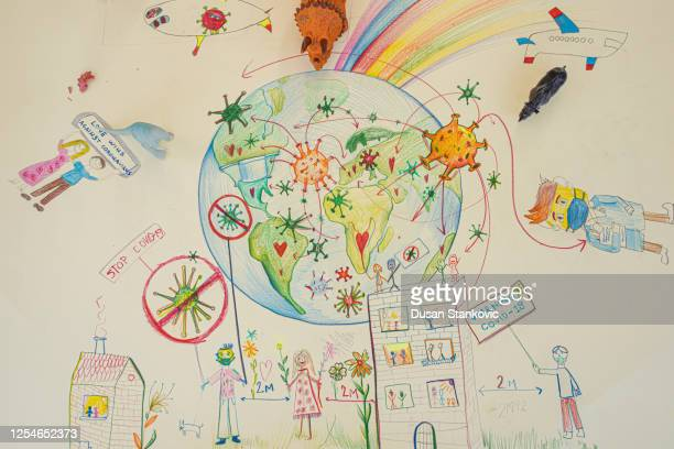 planet earth and coronavirus drawing - dusan stankovic stock pictures, royalty-free photos & images