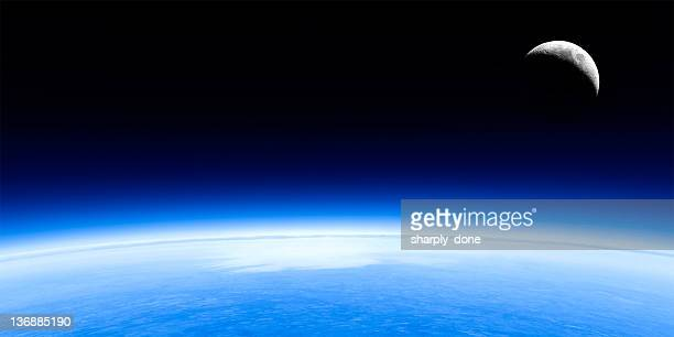 planet earth and moon - curve stock pictures, royalty-free photos & images