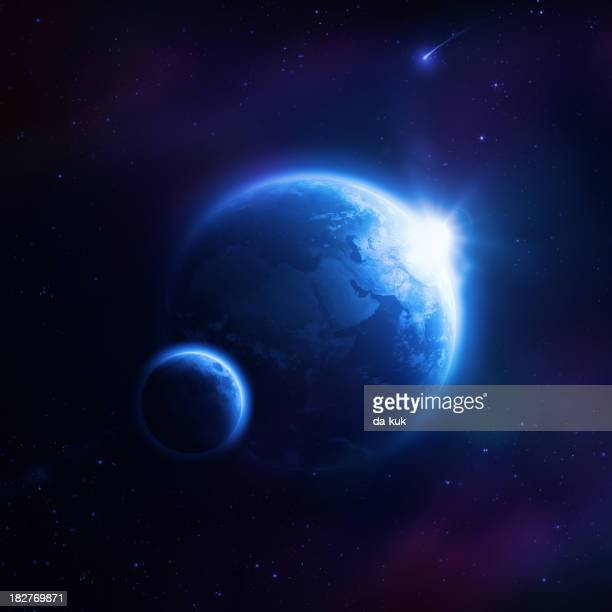 Planet Earth and moon