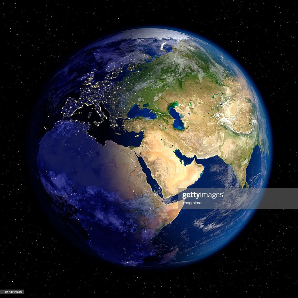 Planet Earth at Night & Day (Europe and Asia) : Stock Photo