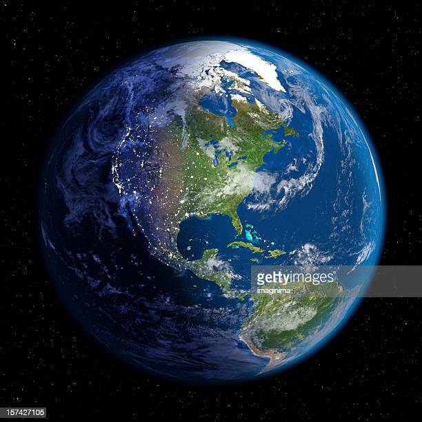 planet earth at night & day (north america) - north america stock pictures, royalty-free photos & images