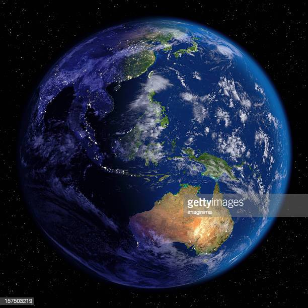 planet earth at night & day (far east and oceania) - east asia stock pictures, royalty-free photos & images