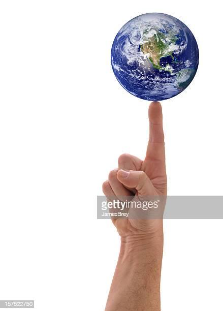 Planet Earth Balanced Finger Tip, Hand Holding Globe, White Background