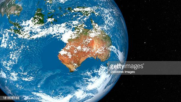 Planet Earth showing clouds over Australia.