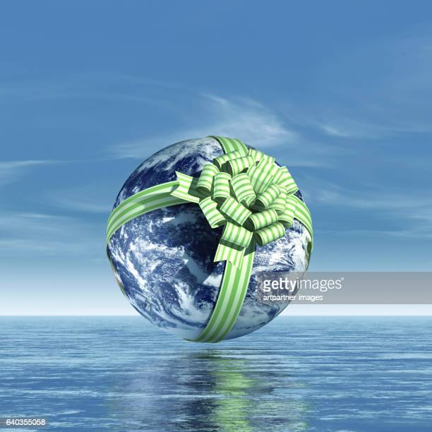 planet earth with a gift loop