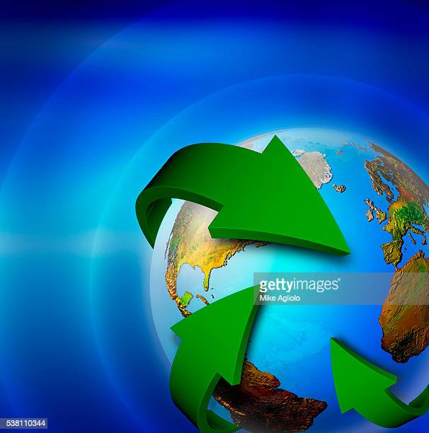 planet earth with green arrows - mike agliolo stock photos and pictures
