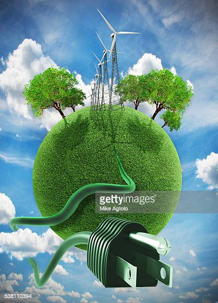 planet earth with wind turbines, trees and electric plug - mike agliolo stock pictures, royalty-free photos & images