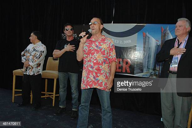 Planet Hollywood CoChairman Robert Earl actor Sylvester Stallone and singer Lee Greenwood and President and CEO of Westgate Resorts David A Siegel...